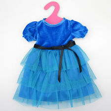 Blue Clothes Dress For 18 Inch American Girl Doll Handmade Party Tackle Crafts