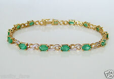 Beautiful 9ct Gold Emerald & Diamond Bracelet