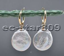 P6290 Big 22MM White Coin Keshi Pearl Dangle Earring