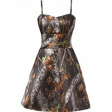 New Camo Evening Dress A-Line Spaghetti Straps Camouflage Party Prom Bridal Gown