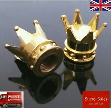 Gold Crown Alloy Car Wheel Tire Tyre Valve Dust Caps Covers Tire Set of 2 UK