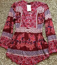 NWT! Women's Lucky Brand Boho Paisley Floral L Blouse Top Shirt PRETTY