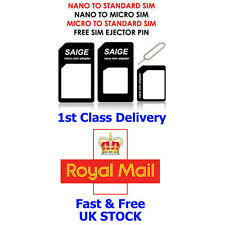 4 in 1 PACK NANO TO MICRO & STANDARD SIM CARD ADAPTER FOR iPHONE 5S 5C 5 4S 4 3G