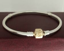 "Authentic Pandora 590702HG-17 6.7"" Gold Barrel Clasp Sterling Silver Bracelet"