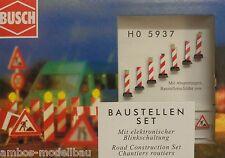 BUSCH 5937 H0 Baustellen-Set, Warnbaken mit Blinkschaltung, Bausatz, Neu