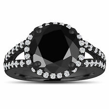Enhanced Black Diamond Engagement Ring 14K Black Gold Vintage Style 4.75 Carat