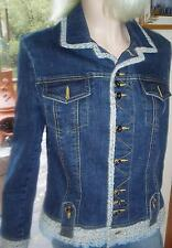 GORGEOUS CACHE SIZE 10 TWILL ACCENT BLUE JEAN JACKET