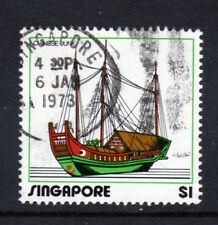 Singapore SC# 166, Used, $1 Chinese Junk Stamp from set Issued in 1972/