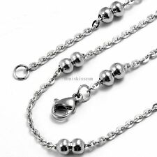 4mm Silver Stainless Steel Ball Bead Men's Women's Necklace Cable Chain 22inch