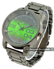 mens big heavy gunmetal black clubbing watch green dial designer bracelet