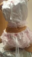 NEW*White Satin & Pink Lacy Training Bra & Matching RUMBA Pantie Set Sissy CD TV