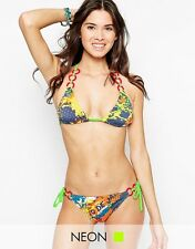Seekers Australia Women's Bikini Set, Abstract Multi Colour, Hoop Straps, Size L