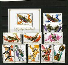 RWANDA 1973 Sc#495-504 FAUNA/INSECTS SET OF 10 STAMPS & S/S MNH