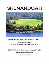Shenandoah Recorder Trio -  2 Alto Recorder and bass recorder or cello NEW