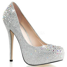 Silver Rhinestones Platform Pageant Prom Bridesmaid Dance Heels Shoes 6 7 8 9 10