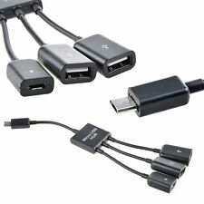 Dual Micro USB Host OTG Hub Adapter Cable for Samsung S5 Note 4 Tab 3 Nexus 10