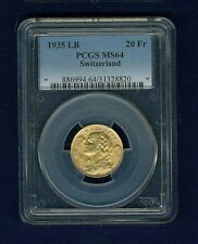 SWITZERLAND REPUBLIC  1935 20 FRANCS GOLD COIN UNCIRCULATED, CERTIFIED PCGS MS64
