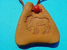 Moose Branded Medicine Gold Buckskin Pendant Necklace Medicine Bag 1041