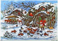 Animaux en hiver Calendrier de l'Avent de Fritz Baumgarten argent Mica reprint 10098