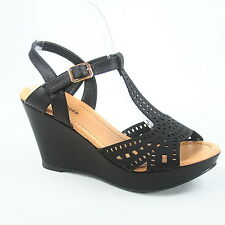Women's Buckle T-Strap Strappy Open Toe Wedge Sandal  Shoes Size 5 - 10 NEW