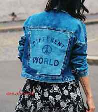 ZARA NEW BLUE DENIM BIKER STYLE LOGO BACK DIFFERENT WORLD JACKET COAT SIZE S