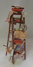Dolls house Miniature Old Tired Filled Step Ladders