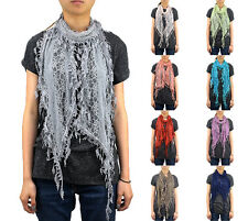 12 PCs Wholesale Women's Pine Leaves Fringe Lace Scarf Embroidery Tassel Sheer