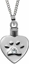 "HEART PAW PRINT Pet Urn Locket Pendant Necklace on 20"" Chain, by AngelStar 46505"