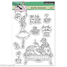 New Penny Black MOCHA MOMENTS Clear Stamp Set Girl Coffee Thanks Latte Relax