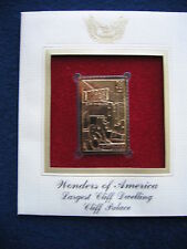 2006 Wonders of America Cliff Palace Replica FDC 22kt Gold Golden Cover Stamp