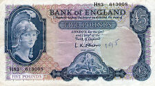 BANK OF ENGLAND FIVE POUND NOTE L.K.O'BRIEN H83  613008