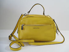 Michael Kors Luka Small Satchel Handbag Yellow Sunflower Leather