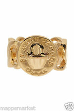 NWT Authentic MARC BY MARC JACOBS Logo Katie Turnlock Ring in Gold M/L $58