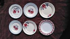 ANCIEN LOT 6 ASSIETTES PLATES BABONVILLER DIGOIN SARREGUEMINES ST AMAND BLUE RED
