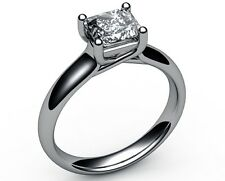 1.01 CT PRINCESS CUT D VVS2 DIAMOND SOLITAIRE ENGAGEMENT RING 14K WHITE GOLD