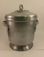 Antique Vintage Aluminum Ice Bucket With Flower Design, Flower Bud Handle Cute!