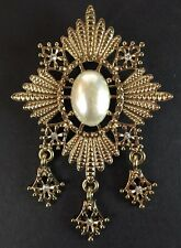 Regal Costume Brooch Pin Gold Tone Faux Pearl Rhinestone Dangle Accents