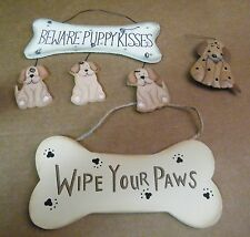 Wood Beware puppy kisses dog bone wipe paws Dogs metal dog Saying Decor Sign 3pc