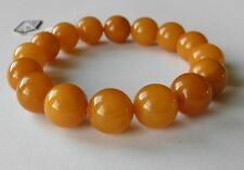 Baltic Amber round beads bracelet 12,9 mm  butterscotch color  19,24g.
