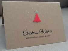 10 Pack of Handmade Personalised Christmas Cards Xmas Tree Glitter Kraft Brown