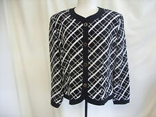 "Ladies Jacket Andrea Gayle UK16 black/white geometrical pattern length 23"" 7861"