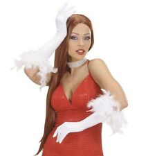 White Long Gloves with Feathers Charleston Flapper 1920 Burlesque Fancy Dress