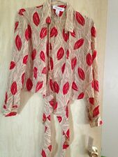 Women's Sz 14 Red & Cream 100% Silk Long Sleeve Top Jones Of NY NWT