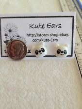Resin Flatback Kute Small Panda Bear Face Stud Earrings FREE SHIPPING