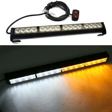 1Pc 16LED Flash Strobe Light Bar Amber/White Dash Police Emergency Warning Lamb