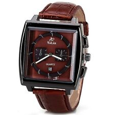 Gents watch brown leather strap with date function, warranty, gift boxed