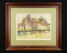 Jean VINCENT-DARASSE(1901-1983)Aquarelle signée en bas à droite.cityscape FRANCE