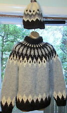 Icelandic Nordic Style Hand Knit Wool Sweater Matching Hat SET Handmade Warm EC