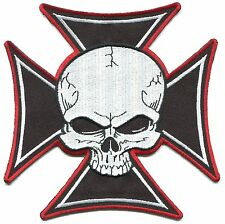SKULL & IRON CROSS (LARGE) EMBROIDERED PATCH iron-on or sew **FREE SHIPPING**