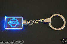 Crystal blue led light car key chain for NISSAN keyring  Almera Juke Murano 350Z